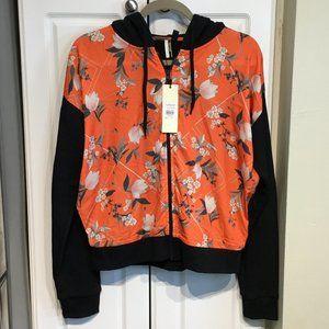 Topshop Orange & Black Floral Hoodie Size 4